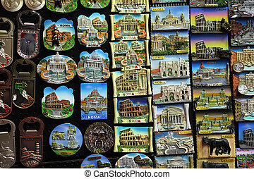 Few rows of magnet souvenirs from Rome: Colosseo, Piazza san...