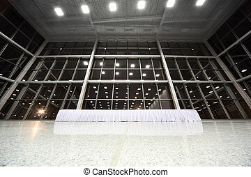 Big table covered with white tablecloth in large, spacious, empty lobby