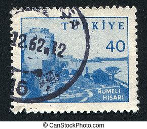 Rumeli Hisari Fortress - TURKEY - CIRCA 1951: stamp printed...