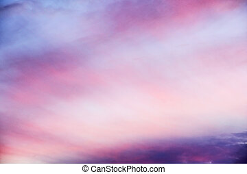Beautiful pink sunset, very airy and spacy clouds, heaven...
