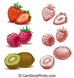Strawberry, Raspberry, Kiwi - Set of fruits: Strawberry,...