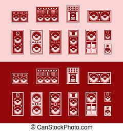 Loudspeakers - Set of speakers. Vector illustration