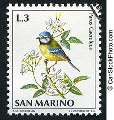Blue tit - SAN MARINO - CIRCA 1972: stamp printed by San...