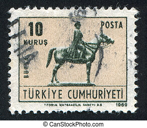 Ataturk of horse - TURKEY- CIRCA 1967: stamp printed by...
