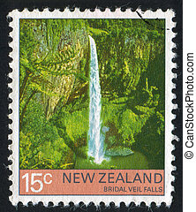 Bridal Veil Falls - NEW ZEALAND - CIRCA 1976: stamp printed...