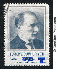 Kemal Ataturk - TURKEY - CIRCA 1989: stamp printed by...