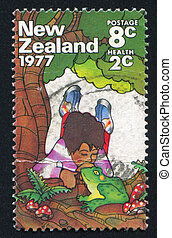 Boy and frog - NEW ZEALAND - CIRCA 1977: stamp printed by...