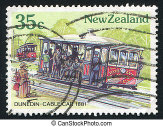 Dunedin Cable Car - NEW ZEALAND - CIRCA 1985: stamp printed...