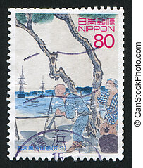 fleet to Japan - JAPAN - CIRCA 2003: stamp printed by Japan,...