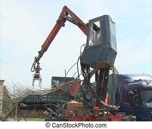 worker machine wood crush - special equipment with crane...