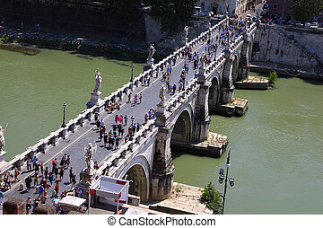 ROME - AUGUST 3: Tourists on Sant' Angelo Bridge on August...