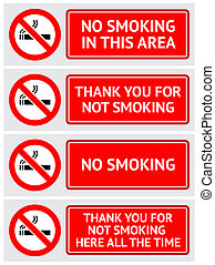 Labels set No smoking stickers. Vector design element