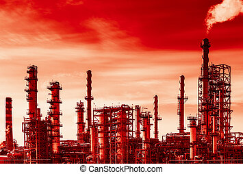 Oil refinery and global warming - Oil refinery with smoke...