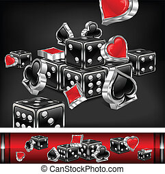 Casino background, dices and card icon on black, vector...