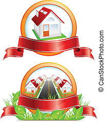 Round icon with houses