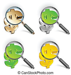 Magnifying glass and color dollar - Magnifying glass for...