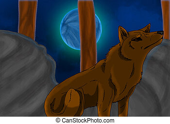 Wolf under Blue Moon - Computer drawing of wolf at night...