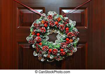 Large artificial circled wreath with knops and bead hangs...