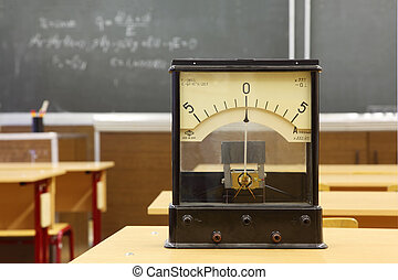 Educational galvanometer with not real number 555 on yellow...