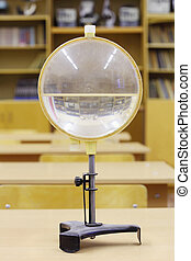 Old water lens for educational experiments in physics; empty...