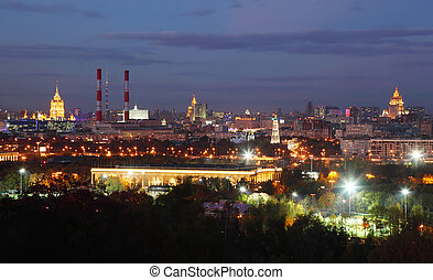 View from Vorobyovy Hills, Stalinist skyscraper in Moscow, Russia, at evening