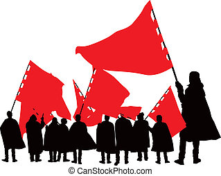 People with red flags - Goup of ten people with red flags...