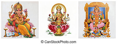 composition with Lakshmi and Ganesha hindu gods - collage...