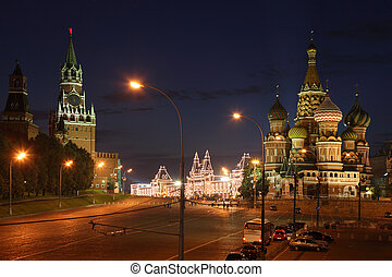 Spassky Tower and St Basil's Cathedral in Red Square at...