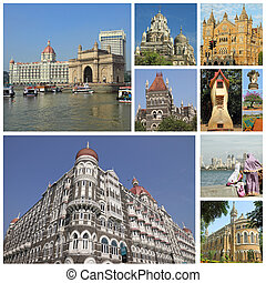 collage with landmarks of indian city Mumbai formerly Bombay...