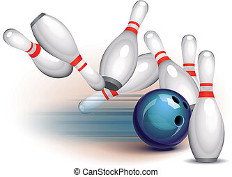 Bowling Game side view - Bowling ball crashing into the pins...