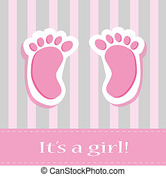It's A Girl Baby Feet - It's a girl baby feet announcement...