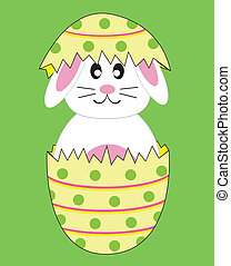 Bunny Rabbit in Easter Egg - Happy Easter egg bunny rabbit