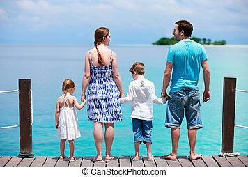 Family at tropical vacation