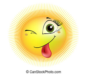 smiling sun - a smiling sun winks and shows tongue