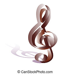 treble clef - Isolated treble clef, stylization