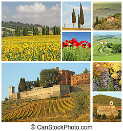 poster with beautiful italian landscape, Tuscany, Europe -...