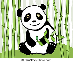 Panda - Panda with sprig of bamboo in background