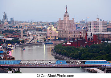 Commerce and pedestrian bridge in Moscow International...