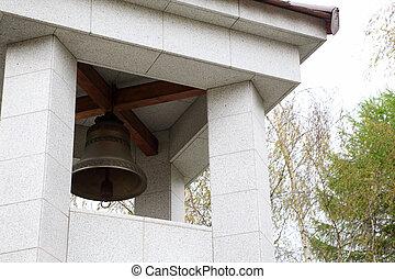 bell in white belfry, Russian birchs, green foliage, loud...