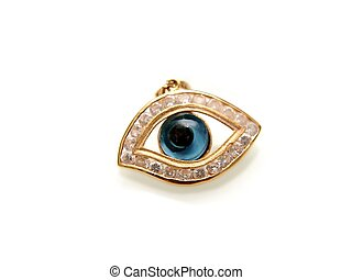 Evil eye with diamonds, and yellow gold, isolated towards...