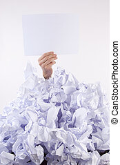 Businessman overwhelmed by paper - Businessman overwhelmed...