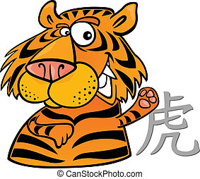 Tiger Chinese horoscope sign - cartoon illustration of Tiger...