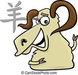 Goat or Ram Chinese horoscope sign - cartoon illustration of...