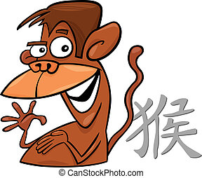 Monkey Chinese horoscope sign - cartoon illustration of...