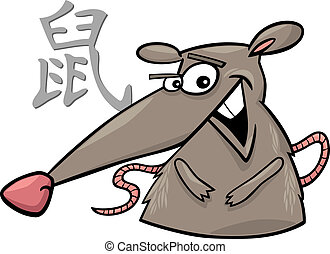 Rat Chinese horoscope sign - cartoon illustration of Rat...