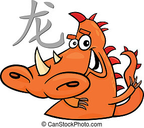 Dragon Chinese horoscope sign - cartoon illustration of...