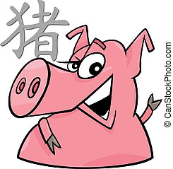 Pig Chinese horoscope sign - cartoon illustration of Pig...