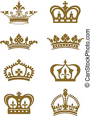 Crowns - A series of ornate golden crown design elements.