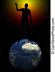 On Top Of The World - Conceptual image about ruling the...
