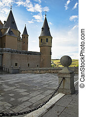 Spanish palace - Medieval Spanish palace on a background of...